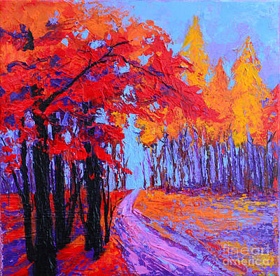 Impressionistic Landscape Painting - Road Within - Enchanted Forest Series - Modern Impressionist Landscape Painting - Palette Knife by Patricia Awapara
