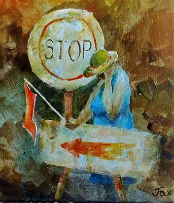 Stop Sign Painting - Road Worker by Jacqueline Boshoff
