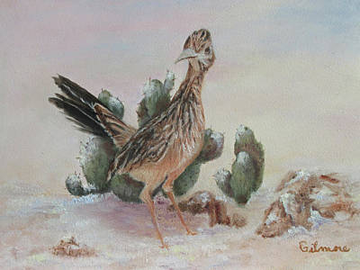Painting - Roadrunner In Snow by Roseann Gilmore