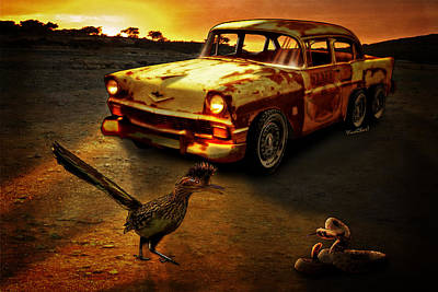 Roadrunner Mixed Media - Roadrunner The Snake And The 56 Chevy Rat Rod by Chas Sinklier