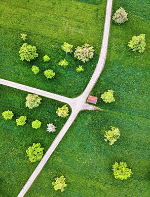 Photograph - Roads And Green Spring Meadow With Trees From Above by Matthias Hauser