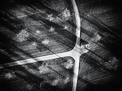 Photograph - Roads And Spring Meadow From Above by Matthias Hauser