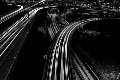 Night Shot Wall Art - Photograph - Roads At Night Black And White by Pelo Blanco Photo
