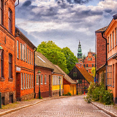 Roads Of Lund Digital Painting Art Print by Antony McAulay