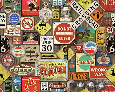 Roads Signs On Wood-jp3958 Art Print