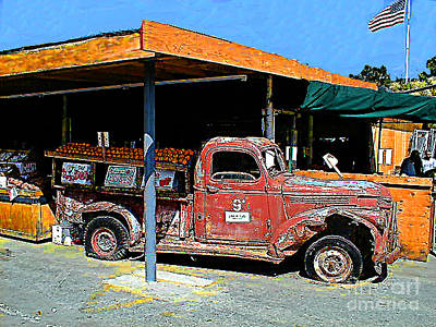 Photograph - Roadside Fruits Vegetables And Old Truck by Merton Allen