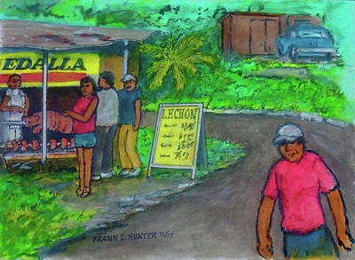 Painting - Roadside Pig Roast Puerto Rico by Frank Hunter
