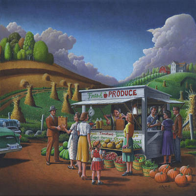 Produce Stands Painting -  Roadside Produce Stand - Fresh Produce - Vegetables - Appalachian Vegetable Stand - Square Format by Walt Curlee