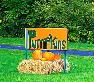 Photograph - Roadside Pumpkin Sign Expressionist Effect by Rose Santuci-Sofranko