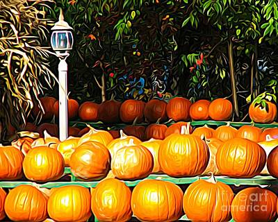 Mixed Media - Roadside Pumpkin Stand Expressionist Effect by Rose Santuci-Sofranko