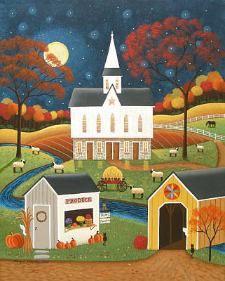 Folk Art Painting - Roadside Stand by Mary Charles