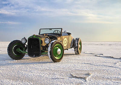Classic Hot Rod Photograph - Roadster On The Salt Flats 2012 by Holly Martin