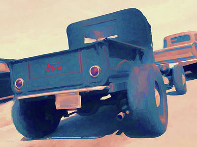 Digital Art - Roadster Pickup Rear by David King