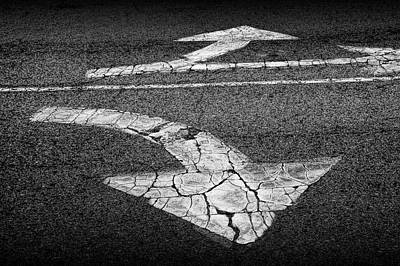 Photograph - Roadway Pavement Direction Arrows In Black And White by Randall Nyhof