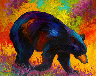 Roaming - Black Bear Art Print by Marion Rose