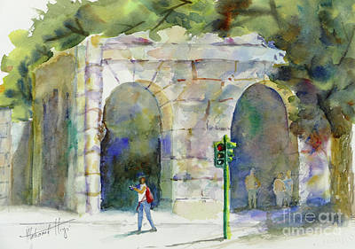 Watercolor Mobile Painting - Roaming In Rome by Mohamed Hirji
