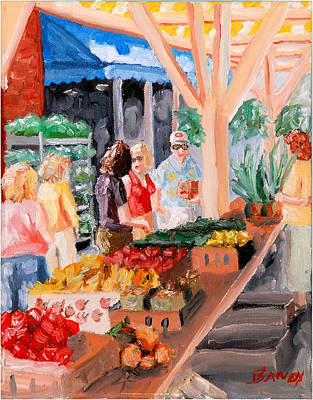City Scape Painting - Roanoke City Market Shopping by Todd Bandy