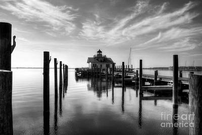 Roanoke Marshes Light Bw Art Print by Mel Steinhauer