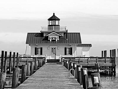Roanoke Marshes Lighthouse Black And White Art Print by Dawn Gari
