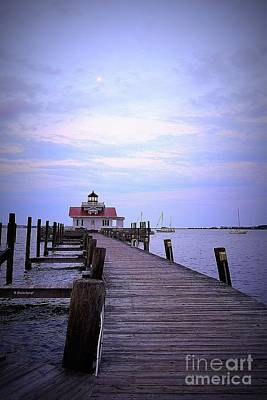 Photograph - Full Moon Over Roanoke Marshes Lighthouse by Shelia Kempf