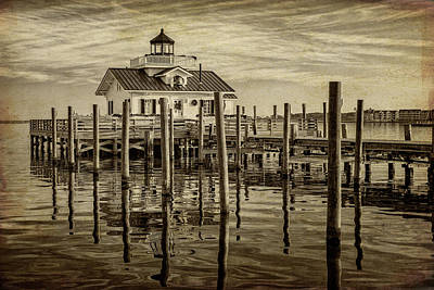 Photograph - Roanoke Marshes Lighthouse Sunset Nc Sepia Img_3952-20101231 by Greg Kluempers
