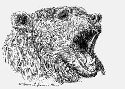 Digital Art - Roaring Bear by ThomasE Jensen