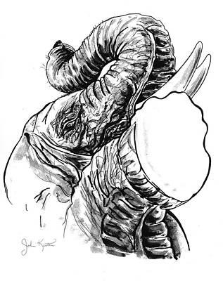 Drawing - Roaring Elephant by John Keaton