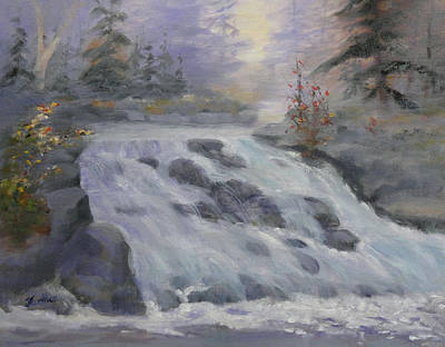 Painting - Roaring Falls 11x14 by Judy Fischer Walton