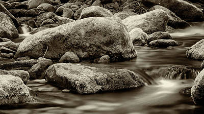 Roaring Fork Mossy Rocks - Strong Sepia Art Print