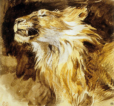 Lion Drawing - Roaring Lion by Ferdinand Victor Eugene Delacroix