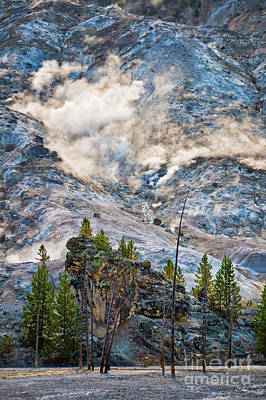 Yellowstone Photograph - Roaring Mountain by Delphimages Photo Creations