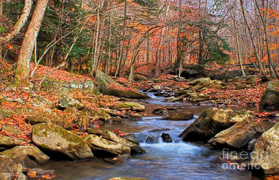 Clouds Rights Managed Images - Roaring Run Stream Late Fall Royalty-Free Image by Randy Steele
