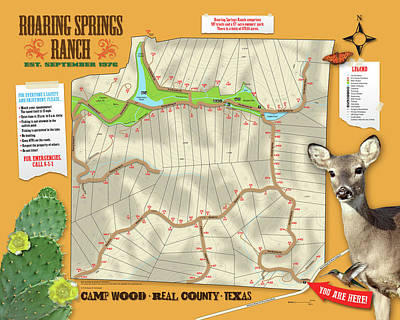 Digital Art - Roaring Springs Ranch Map by Susan Schroeder