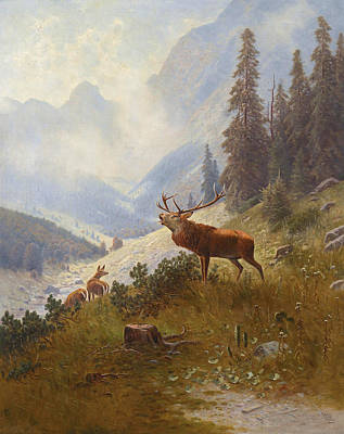 Roaring Stag In The Mountains Art Print by Ludwig Skell