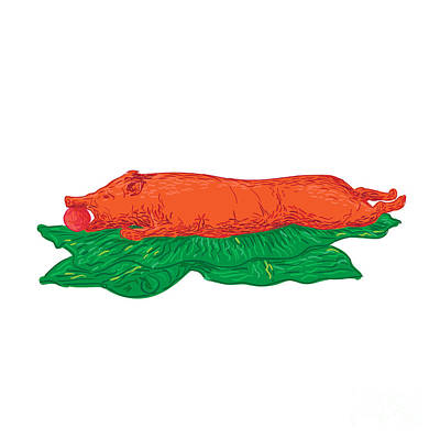 Hand Drawn Digital Art - Roast Pig Lechon Banana Leaves Drawing by Aloysius Patrimonio