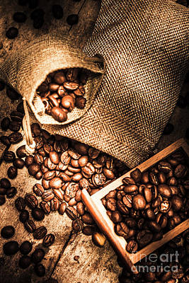 Roasted Coffee Beans In Drawer And Bags On Table Print by Jorgo Photography - Wall Art Gallery