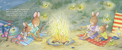 Wall Art - Painting - Roasting Marshmallows -- With Text by June Goulding