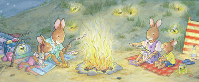 Wall Art - Painting - Roasting Marshmallows -- No Text by June Goulding