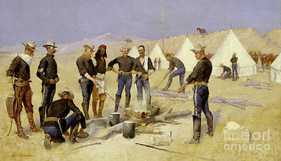 Roasting The Christmas Beef In A Cavalry Camp, 1892 Art Print by Frederic Remington