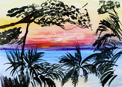 Roatan Sunset Art Print by Donna Walsh