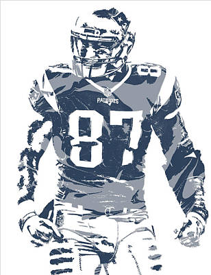 News Mixed Media - Rob Gronkowski New England Patriots Pixel Art 12 by Joe Hamilton