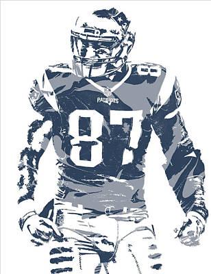 Rob Gronkowski New England Patriots Pixel Art 12 Art Print
