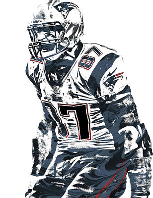 Mixed Media - Rob Gronkowski New England Patriots Pixel Art 4 by Joe Hamilton