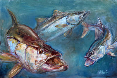 Fish Underwater Painting - Robalo by Tom Dauria