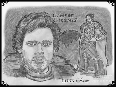 Drawing - Robb Stark King Of The North by Chris  DelVecchio