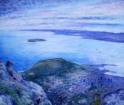 Robben Island From Table Mountain Cape Town South Africa Dawn 2000  Art Print by Enver Larney