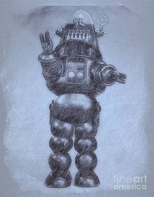 Musicians Drawings - Robbie the Robot from Forbidden Planet by John Springfield by Esoterica Art Agency