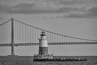 Photograph - Robbins Reef Light Bw by Susan Candelario