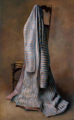 Silk Wall-hanging Pastel - Robe Ottomane Bleu Et Jaune by Kira Weber