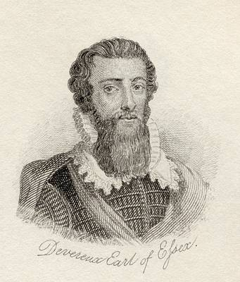 Military Hero Drawing - Robert Devereux, 2nd Earl Of Essex by Vintage Design Pics